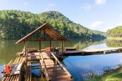 Bamboo raft on Pang Ung reservoir lake. Royalty Free Stock Photography