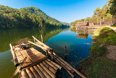 Bamboo raft on Pang Ung reservoir lake. Pang ung Royalty Free Stock Photo