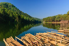 Bamboo raft on Pang Ung reservoir lake. Pang ung Stock Image
