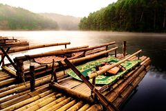 Bamboo raft for rent to tourists royalty free stock image
