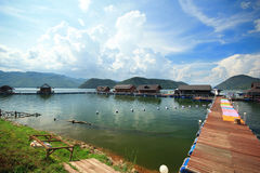 Bamboo raft resort lake sky river Royalty Free Stock Photography