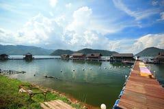 Bamboo raft resort lake sky river Royalty Free Stock Photography