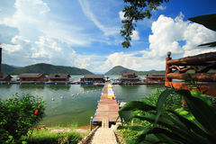 Bamboo raft resort lake sky river Royalty Free Stock Image