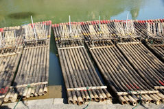 Bamboo raft by the river Royalty Free Stock Images