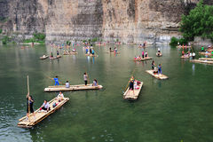 Bamboo raft at the river. In SHIDU Scenic Area, Beijing suburb, China Royalty Free Stock Images