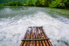The Bamboo raft on the river Stock Photos