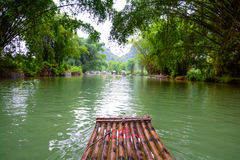 The Bamboo raft on the river Royalty Free Stock Image