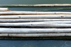 Bamboo Raft in River Background. Stock Photos