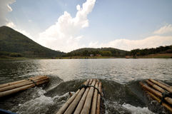 Bamboo raft. In the river (Huay-Krating) with blue sky and clould, Loei Province, Thailand Royalty Free Stock Photography