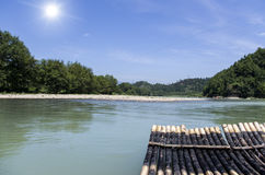 Bamboo raft on river Royalty Free Stock Photos