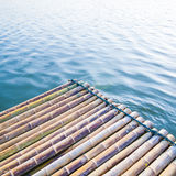 Bamboo raft. Songalia river in Sangkhlaburi , Thailand royalty free stock photos