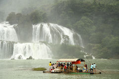 Bamboo Raft with tourists at Ban Gioc Waterfall, Vietnam Stock Image