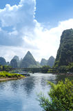 Bamboo raft at the Ulong river near Yangshuo Stock Photos