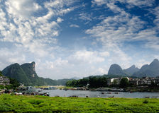 Bamboo raft at the Ulong river near Yangshuo Royalty Free Stock Images