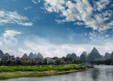 Bamboo raft at the Ulong river near Yangshuo Royalty Free Stock Photo