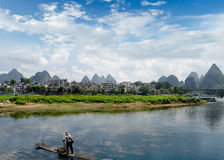 Bamboo raft at the Ulong river near Yangshuo Stock Images