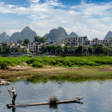 Bamboo raft at the Ulong river near Yangshuo Stock Image
