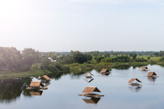 Bamboo raft with vetiver roof on the lake. Royalty Free Stock Photography