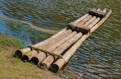 The bamboo raft. Which has moored to the coast Stock Images