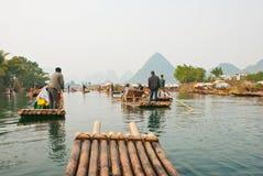 Bamboo raftign along YuLong, Guilin, China Stock Image