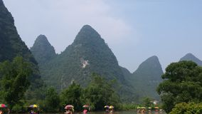 Bamboo rafting on the Li River royalty free stock photo