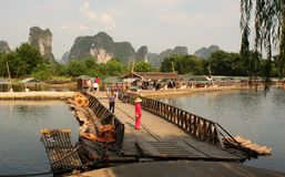 Bamboo rafting on Li-river, Yangshou, China Stock Photos