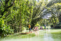 Bamboo Rafting on the Martha Brae River in Jamaica. Royalty Free Stock Photography