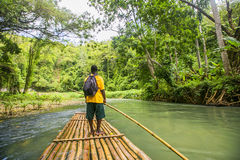 Bamboo Rafting on the Martha Brae River in Jamaica. Bamboo Rafting on the Martha Brae River, a popular tourist attraction in Jamaica Royalty Free Stock Photography
