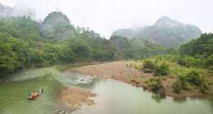 Bamboo rafting in mountain river Royalty Free Stock Photography