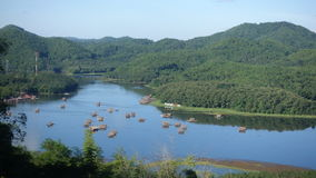 Bamboo rafting. On Nam Man reservoir , Loei province, Thailand stock footage