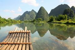 Bamboo Rafting On Li-river, Yangshou, China Stock Image