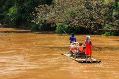Bamboo rafting on river. CHIANG MAI,THAILAND,AUGUST 25 - Bamboo rafting on river Royalty Free Stock Photography