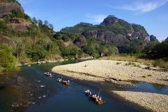 Bamboo rafting in Wuyishan mountains, China Stock Image