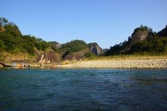 Bamboo rafting in Wuyishan mountains, China Stock Photo