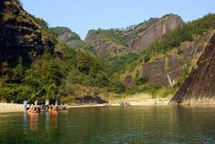 Bamboo rafting in Wuyishan mountains, China Royalty Free Stock Photo