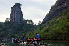 Bamboo rafting in Wuyishan mountains, China Royalty Free Stock Photography