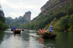 Bamboo rafting in Wuyishan mountains, China. Bamboo rafting in Wuyishan mountains in China royalty free stock photos