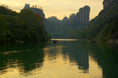 Bamboo rafting in Wuyishan mountains, China Stock Images