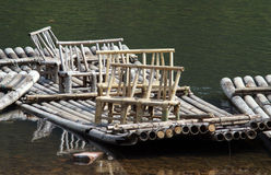 Bamboo rafts. Rafts with seats made from bamboo on a river Royalty Free Stock Photography