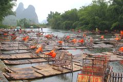 Bamboo Rafts Between Guilin And Yangshuo, China Royalty Free Stock Photo