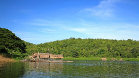 Bamboo rafts floating on the lake, Thailand Royalty Free Stock Image