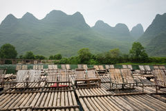 Bamboo rafts floating on the river Stock Image