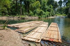 Bamboo rafts on green tropical river Royalty Free Stock Photography