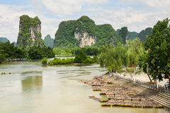 Bamboo rafts in idyllic li river scenery Stock Photos