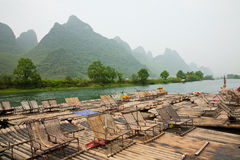 Bamboo rafts on Li river Royalty Free Stock Photography