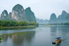Bamboo rafts at the Li river near Yangshuo. Guanxi province, China Royalty Free Stock Image