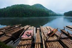 Bamboo rafts at Pang Ung. Bamboo rafts are prepared for tourists in the morning at Pang Ung, Mae Hong Son, Thailand Royalty Free Stock Photos