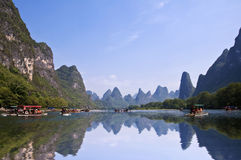 Bamboo rafts on the river Li (lijang) between Guilin and Yangshuo stock photography
