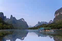Bamboo rafts on the river Li (lijang) between Guilin and Yangshuo Royalty Free Stock Photos