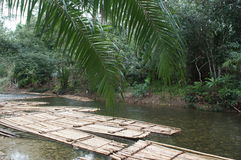 Bamboo rafts on the water in the river of Thailand, Royalty Free Stock Photography